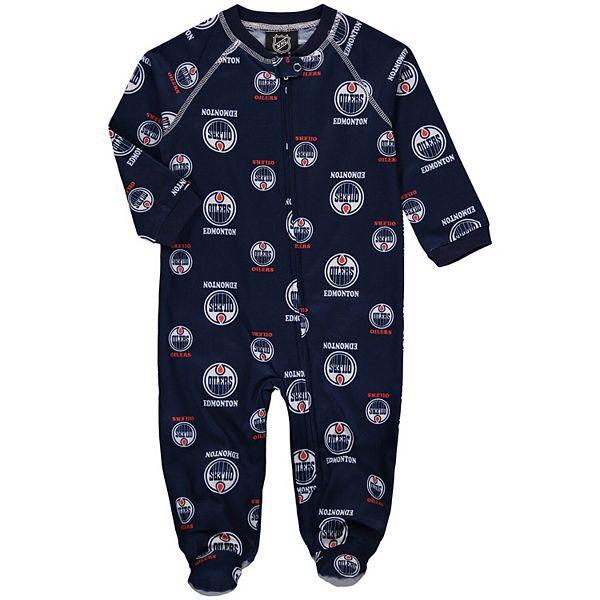 Infant Navy Edmonton Oilers Team Print Raglan Zip Coverall