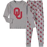 Youth Heathered Gray Oklahoma Sooners Long Sleeve T-Shirt & Pant Sleep Set