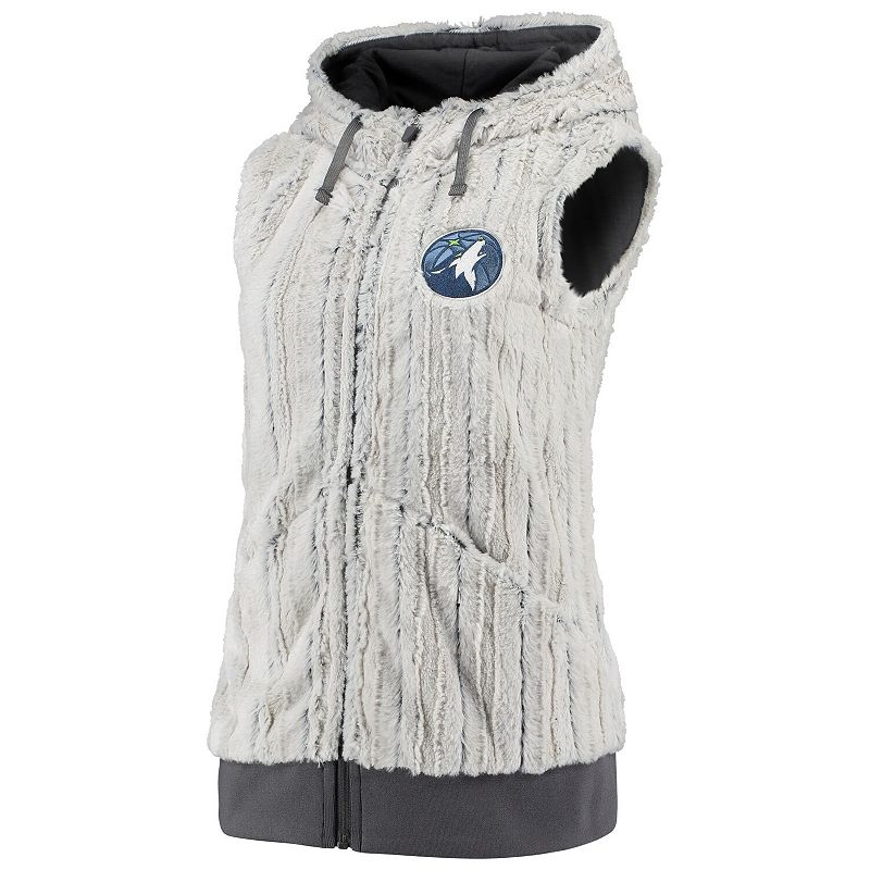 Women's Antigua Silver/Charcoal Minnesota Timberwolves Rant Hooded Full-Zip Vest, Size: Large