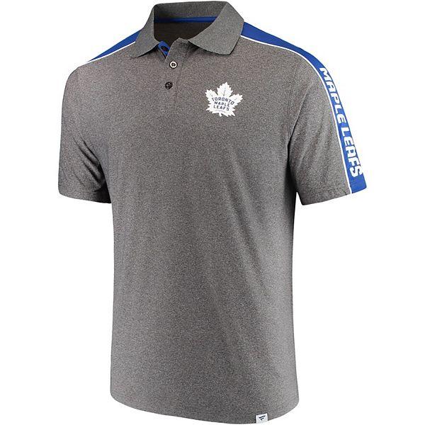 Men's Fanatics Branded Heathered Gray/Blue Toronto Maple Leafs Shoulder Block Polo