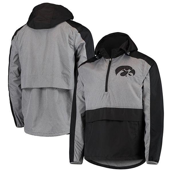Men's G-III Sports by Carl Banks Black Iowa Hawkeyes Leadoff Hooded Half-Zip Pullover Jacket