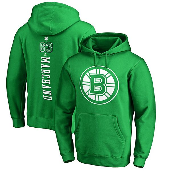 Men's Fanatics Branded Brad Marchand Kelly Green Boston Bruins St. Patrick's Day Backer NHL Hoodie