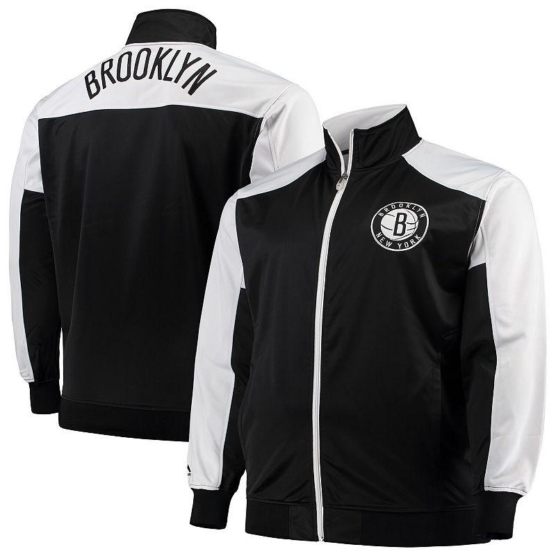 Men's Majestic Black/White Brooklyn Nets Big & Tall Tricot Full-Zip Track Jacket, Size: MT