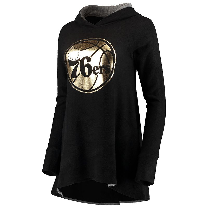 Women's Majestic Threads Black Philadelphia 76ers Gold Foil Brushed Hacci A-Line Pullover Hoodie, Size: Small