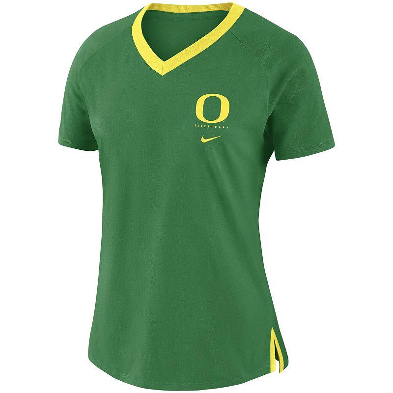 Women's Nike Green Oregon Ducks Banded Fan Performance Tri-Blend V-Neck T-Shirt, Size: XS