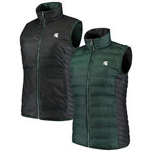 Women's Columbia Green/Black Michigan State Spartans Lake 22 Reversible Puffer Vest