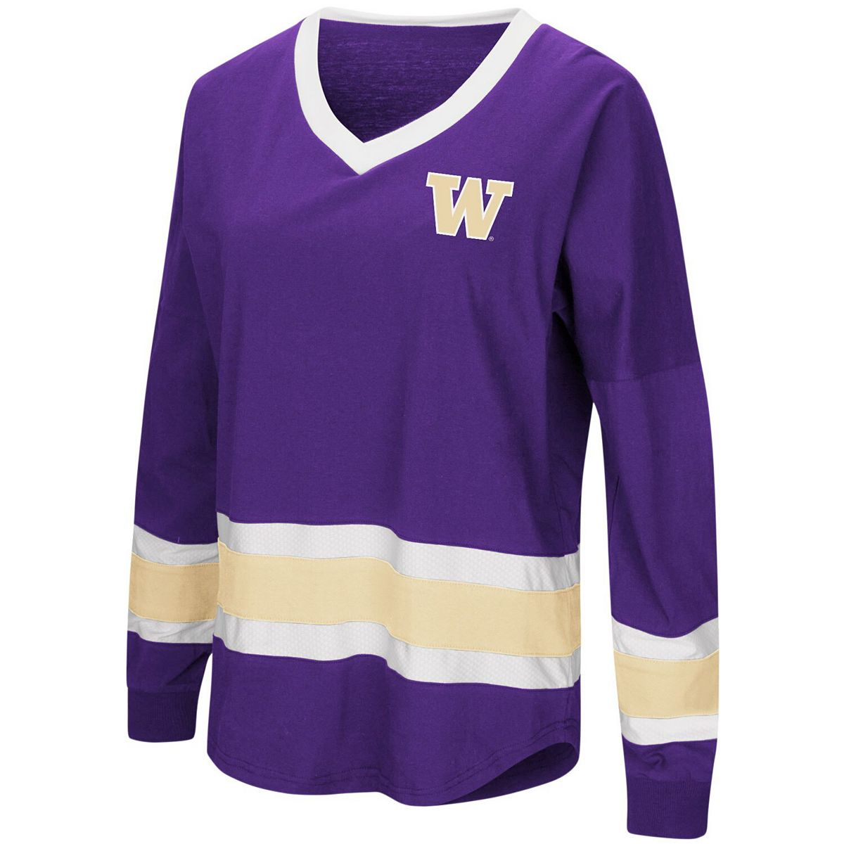 Women's Colosseum Purple Washington Huskies Plus Size Marquee Players Oversized Long Sleeve V-Neck T-Shirt Qejre