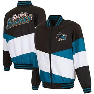 Men's JH Design Black/Teal San Jose Sharks Full-Zip Nylon Jacket