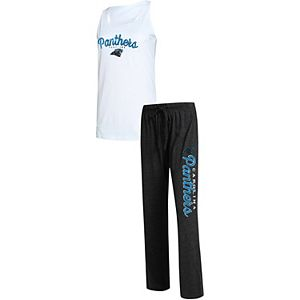 Women's Concepts Sport White/Charcoal Carolina Panthers Plus Size Topic Tank Top & Pants Sleep Set