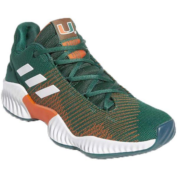 cobre Será Superficial  Men's adidas Green/White Miami Hurricanes Pro Bounce Low Training Sneaker