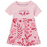 Girls Youth Wes & Willy Light Pink Alabama Crimson Tide Floral Print Tri-Blend Sun Dress