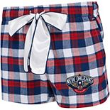 Women's Concepts Sport Navy/Red New Orleans Pelicans Piedmont Flannel Sleep Shorts