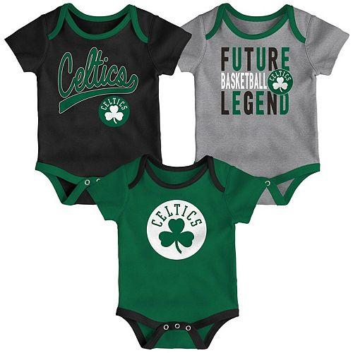 Infant Kelly Green/Black/Gray Boston Celtics Champion Three-Piece Bodysuit Set