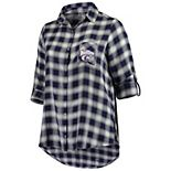 Women's Plus Size Concepts Sport Purple/Black Kansas State Wildcats Forge Rayon Flannel Long Sleeve Button-Up Shirt