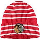 Men's adidas Red Chicago Blackhawks Stripes Cuffed Knit Hat