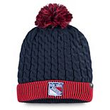 Women's Fanatics Branded Navy/Red New York Rangers Iconic Cuffed Knit Hat with Pom