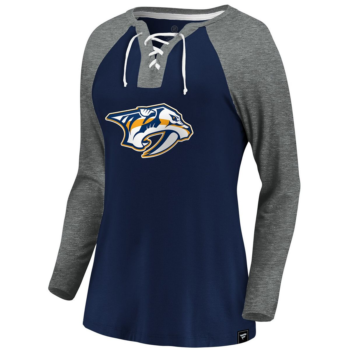 Women's Fanatics Branded Navy/Gray Nashville Predators Plus Size Break Out Play Lace-Up Long Sleeve V-Neck T-Shirt T6JFw