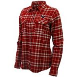 Women's Antigua Red/Gray Washington Capitals Stance Plaid Button-Up Long Sleeve Shirt