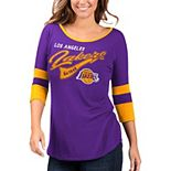 Women's G-III 4Her by Carl Banks Purple/Gold Los Angeles Lakers Game Changer Viscose Jersey 3/4-Sleeve T-Shirt