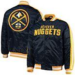 Men's Starter Navy Denver Nuggets The Offensive Varsity Satin Full-Snap Jacket
