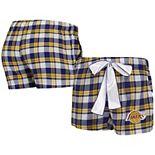Women's Concepts Sport Purple/Gold Los Angeles Lakers Piedmont Flannel Sleep Shorts