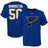 Youth Jordan Binnington Royal St. Louis Blues Player Name & Number T-Shirt