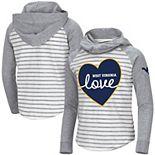 Girls Youth Colosseum White/Heathered Gray West Virginia Mountaineers Robin Striped Hoodie Long Sleeve Raglan T-Shirt