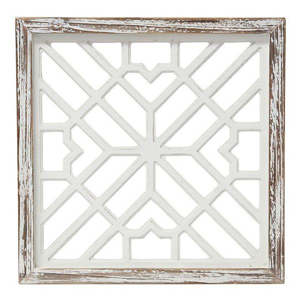 Stratton Home Decor White Wood Gate Framed Wall Art