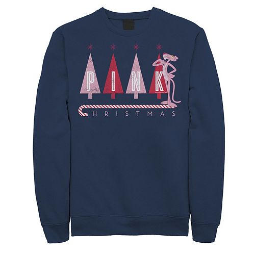 Men's Pink Panther Pink Christmas Portrait Graphic Fleece Pullover