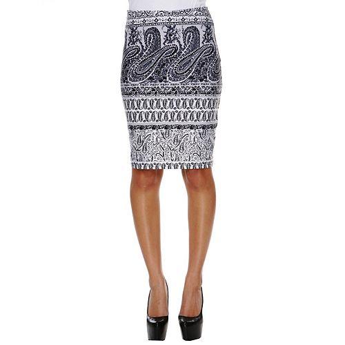 Women's White Mark Printed Pencil Skirt