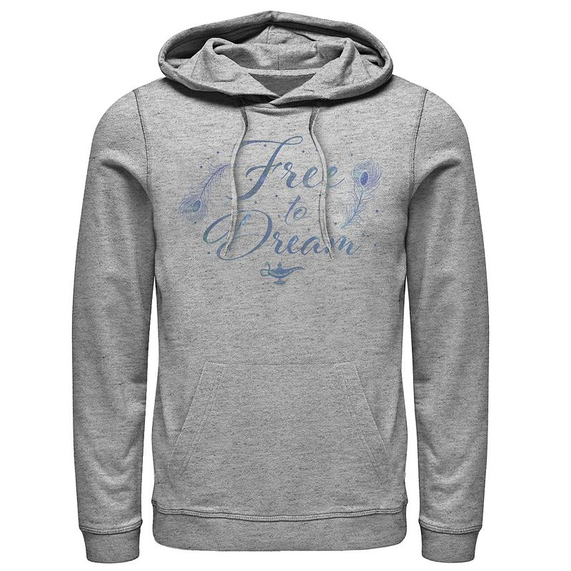Men's Disney's Aladdin Live Action Free To Dream Poster Hoodie. Size: Small. Grey