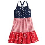 Girls 4-12 Jumping Beans® Star & Stripe Crisscross-Back Tiered Dress