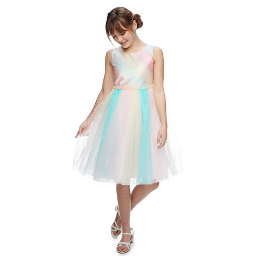 Girls 7-16 Bonnie Jean Metallic Rainbow Dress