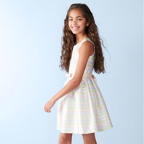 Girls 7-16 Bonnie Jean Mitered Stripe Dress
