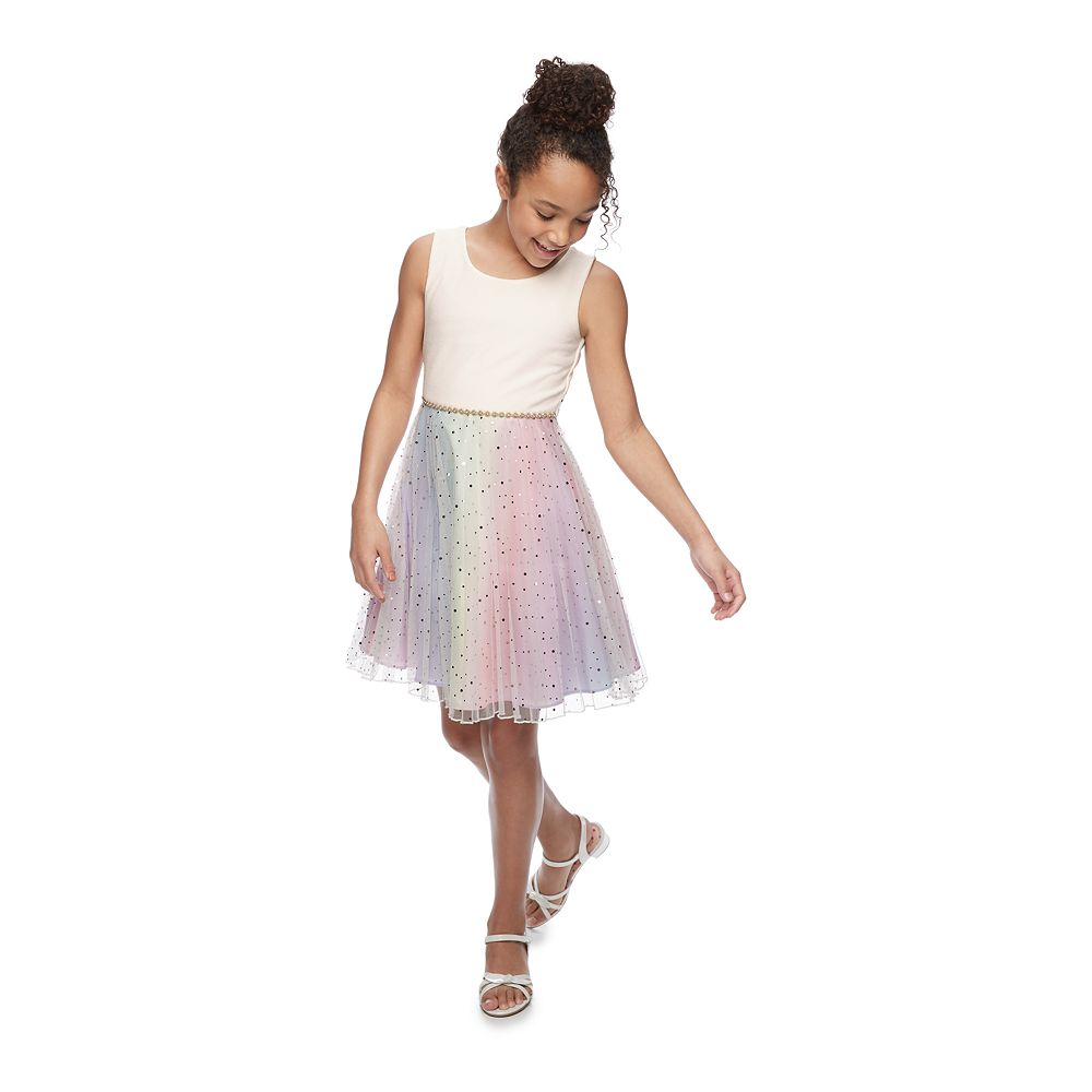 Girls 7-16 Bonnie Jean Embellished Mesh Rainbow Dress