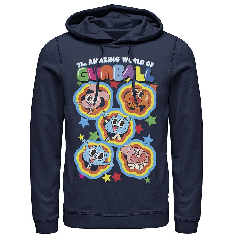 Men's Cartoon Network The Amazing World of Gumball Five Stars Group Shot Hoodie, Size: 3XL, Blue