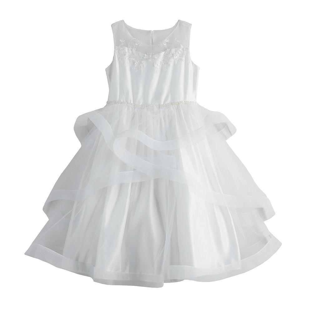 Girls 7-16 Bonnie Jean Illusion Neckline Tiered Dress