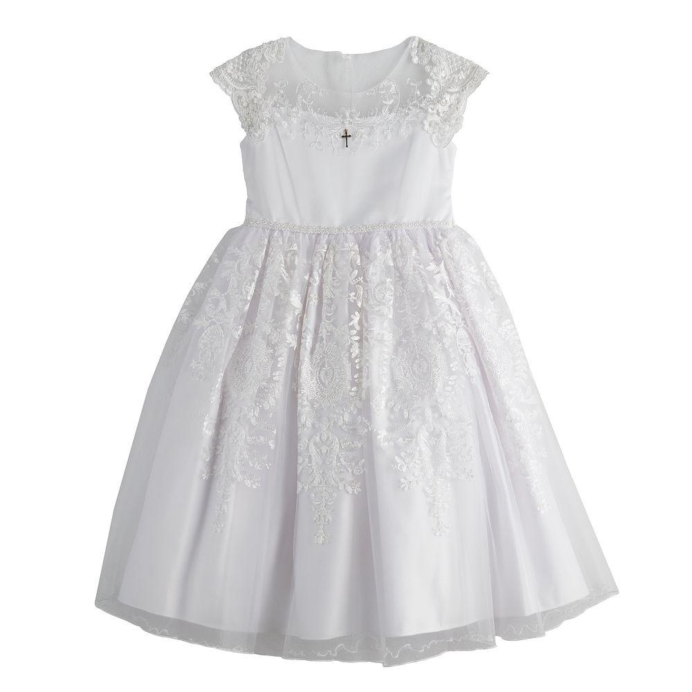 Girls 7-16 Bonnie Jean Illusion Neckline Embroidered Dress