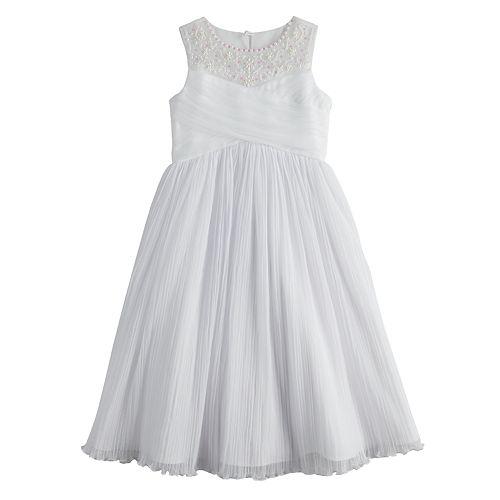 Girls 7-16 Bonnie Jean Pleated Tulle Beaded Neckline Dress