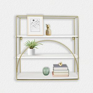 Belle Maison Metal and Wood Shelf