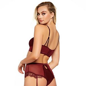 Women's iCollection High-Waisted Lace Bralette & Panty Set 7710