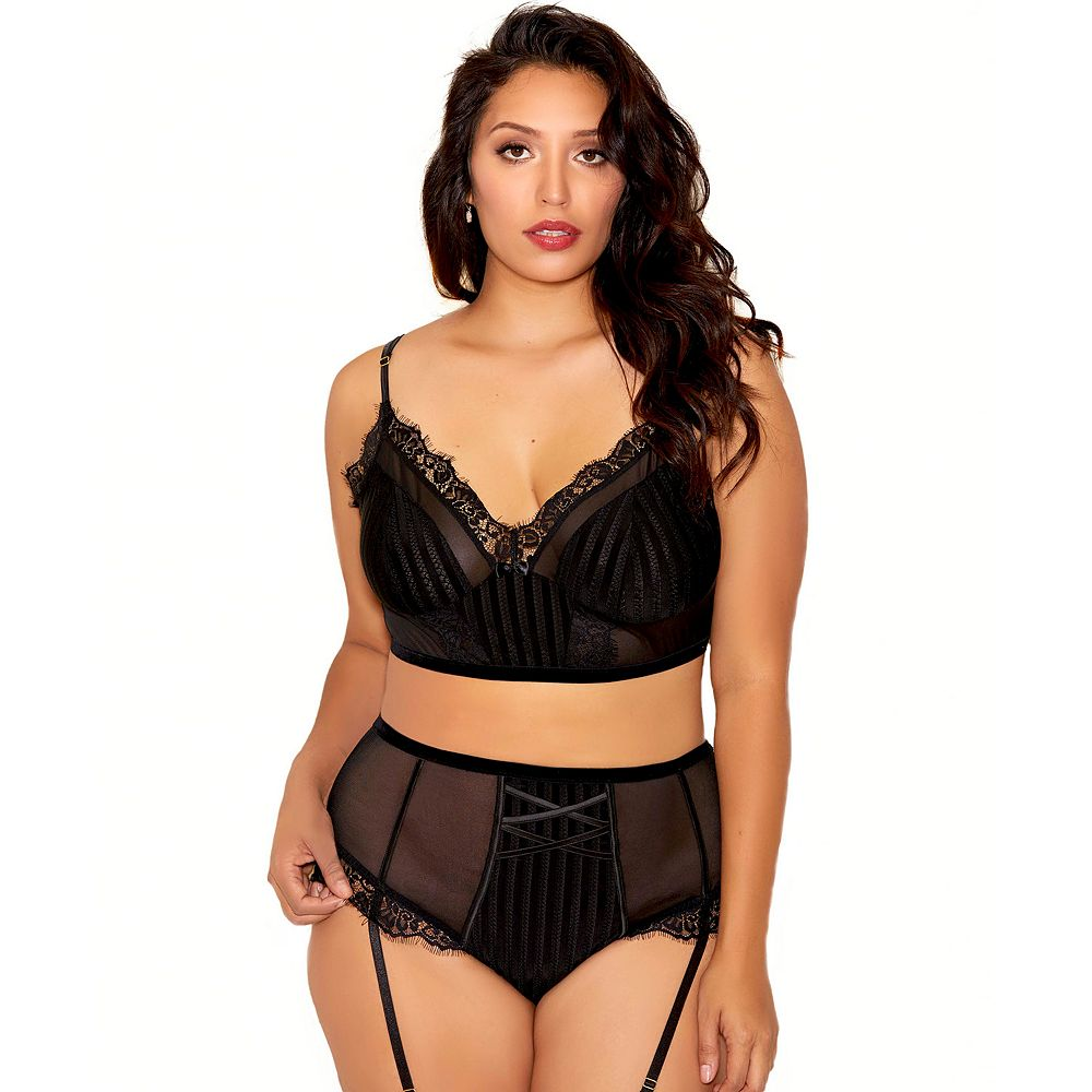 Plus Size iCollection High-Waisted Lace Bralette & Panty Set 7710X
