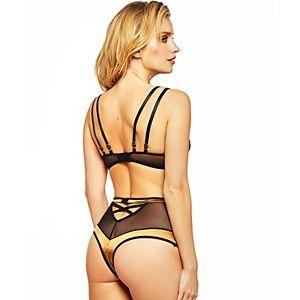 Women's iCollection Retro Style Plunge Satin Bra & High-Waisted Mesh Panty Set 8937