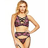 Women's iCollection 3-Piece Floral Lace Bra, Panty & Garter Skirt Set 8928
