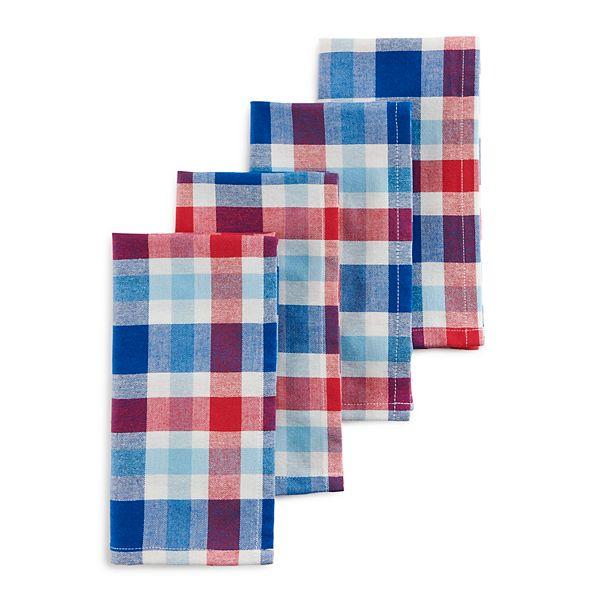 Celebrate Americana Together Red White Blue Plaid Napkin 4 Pk