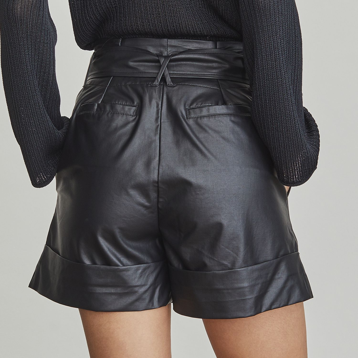 Women's Elizabeth and James Faux-Leather Paperbag Shorts