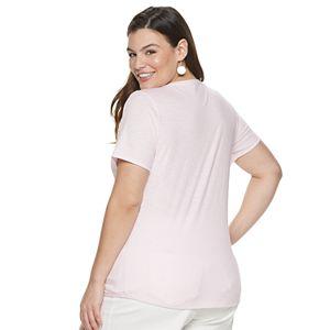 Plus Size EVRI Short Sleeve V-Neck Graphic Tee