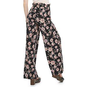 Juniors' Pink Republic Paper-Bag Waist Peached Wide Leg Pants