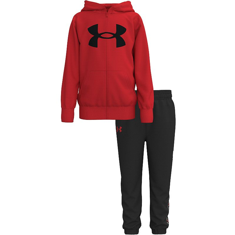 Baby Boy Under Armour Box Logo Fleece Hoodie & Bottoms Set. Infant Boy's. Size: 12 Months. Med Red