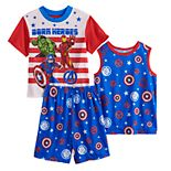 Boys 4-10 Marvel Avengers Iron Man, Captain America & The Incredible Hulk Tops & Shorts Pajama Set